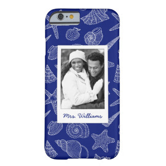 Bright Blue Shell Pattern | Your Photo & Name Barely There iPhone 6 Case