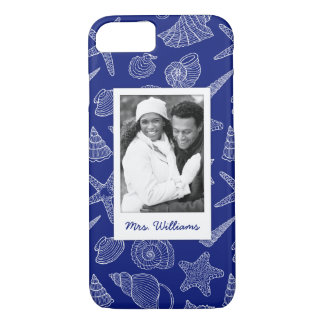 Bright Blue Shell Pattern | Your Photo & Name iPhone 8/7 Case