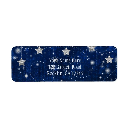 Bright Blue & Silver Starry Celestial Invitation Return Address Label