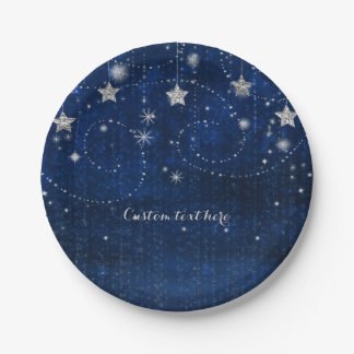Bright Blue & Silver Starry Celestial Party Paper Plate
