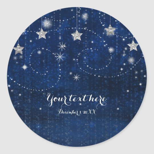 Bright Blue & Silver Starry Night Celestial Favour Classic Round Sticker