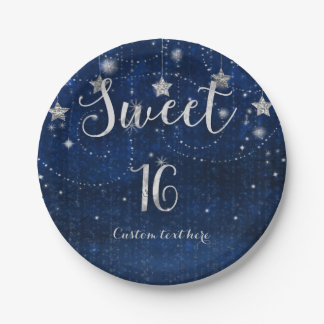 Bright Blue & Silver Starry Sweet 16 Party Paper Plate