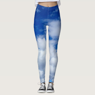 BRIGHT BLUE SKY WITH WHITE CLOUDS LEGGINGS