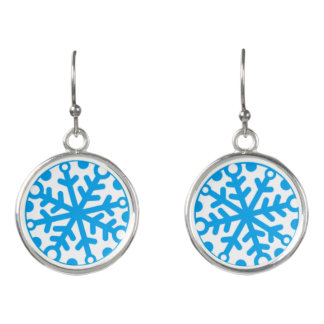 Bright Blue Snowflake Earrings
