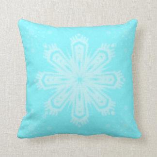 Bright Blue Snowflake Throw Pillow