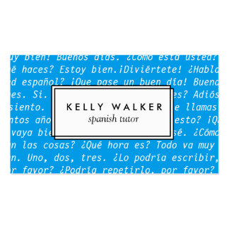 Bright blue Spanish language typography Pack Of Standard Business Cards