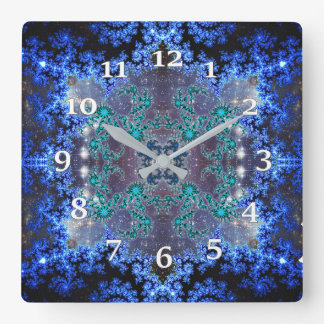 Bright Blue Square Wall Clock