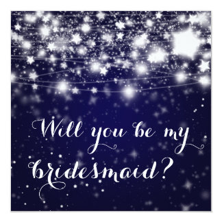 Bright Blue | Stars Will You Be My Bridesmaid 13 Cm X 13 Cm Square Invitation Card