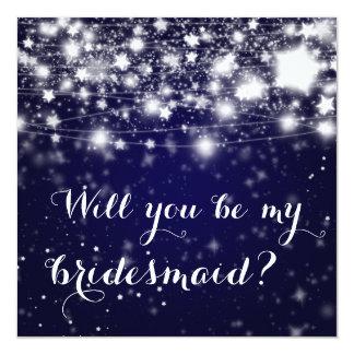 Bright Blue | Stars Will You Be My Bridesmaid 13 Cm X 13 Cm Square Invitation Card