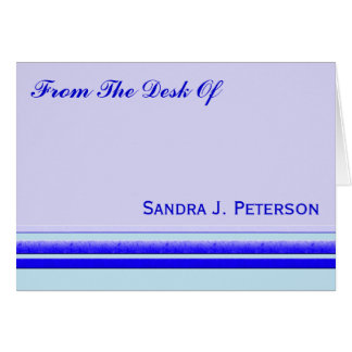 Bright blue stripe on pastel professional business card
