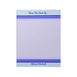 Bright blue stripe on pastel professional business notepad