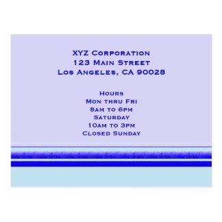 Bright blue stripe on pastel professional business postcard