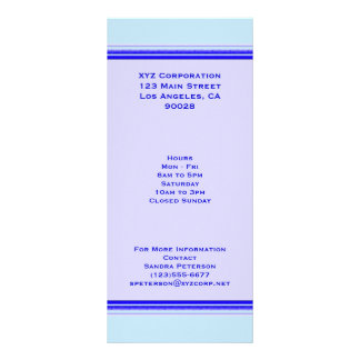 Bright blue stripe on pastel professional business full color rack card