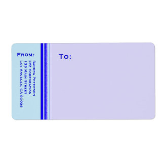 Bright blue stripe on pastel professional business shipping label