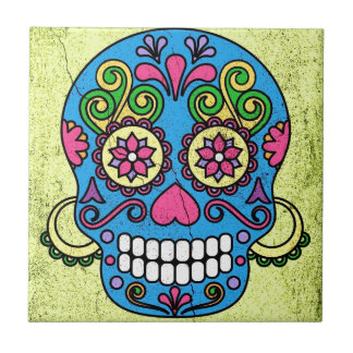 Bright Blue Sugar Skull Day of the Dead! Small Square Tile