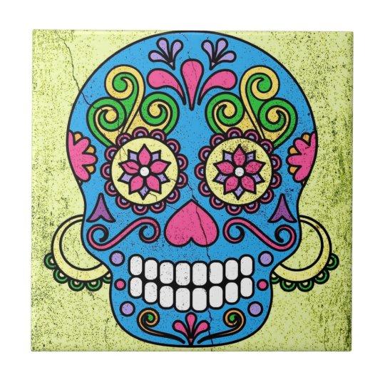Bright Blue Sugar Skull Day of the Dead!