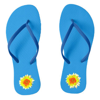 Bright Blue Sunflower on Flip Flops