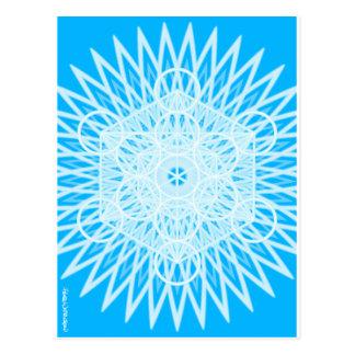 bright blue throat chakra sacred geometry postcard