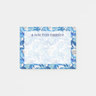 Bright Blue Tropical Watercolor Pattern Post-it Notes