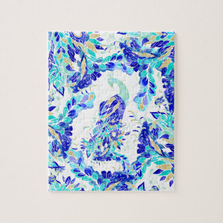 Bright blue turquoise gold elegant peacock pattern jigsaw puzzle