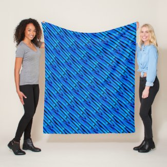Bright Blue & Turquoise Textured Bamboo Weave Fleece Blanket