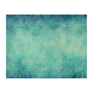 Bright Blue Watercolor Personalized Background Wood Wall Decor