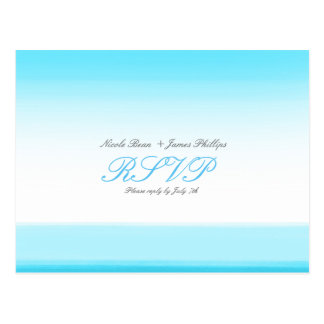 Bright Blue Watercolor RSVP Wedding Postcard