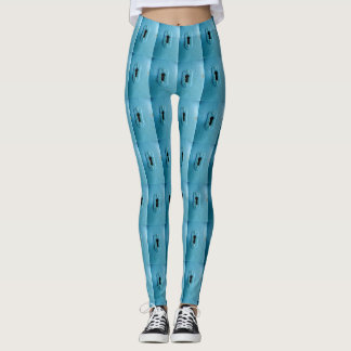 bright blue with a retro look  key hole pattern leggings