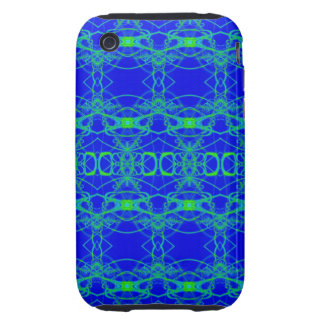 Bright Blue with lacey green pattern iPhone 3 Tough Covers