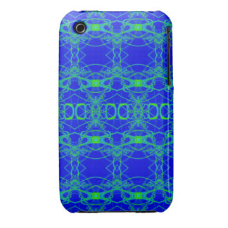 Bright Blue with lacey green pattern Case-Mate iPhone 3 Cases