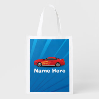 Bright Blue with Red Sports Car Flames Kids Boys