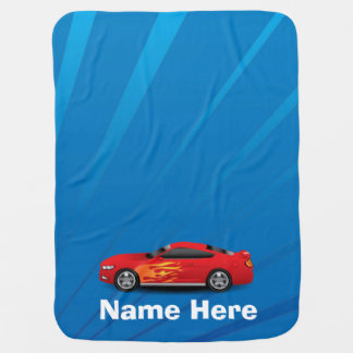 Bright Blue with Red Sports Car Flames Kids Boys Baby Blanket