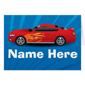 Bright Blue with Red Sports Car Flames Kids Boys Card