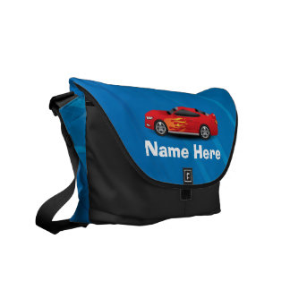 Bright Blue with Red Sports Car Flames Kids Boys Courier Bags