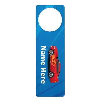 Bright Blue with Red Sports Car Flames Kids Boys Door Knob Hanger