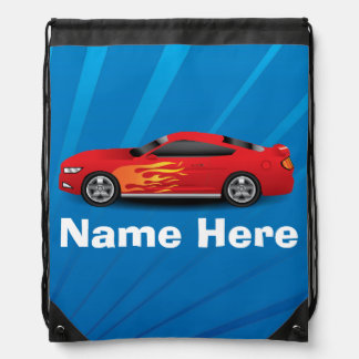 Bright Blue with Red Sports Car Flames Kids Boys Drawstring Bag