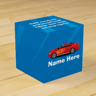 Bright Blue with Red Sports Car Flames Kids Boys Favour Box