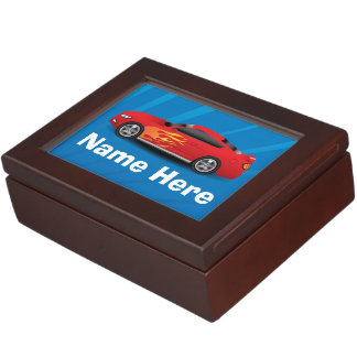 Bright Blue with Red Sports Car Flames Kids Boys Memory Boxes