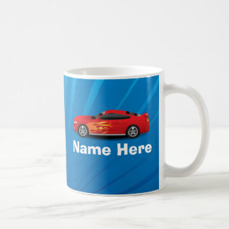 Bright Blue with Red Sports Car Flames Kids Boys Mugs