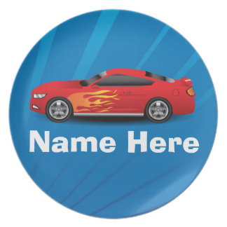 Bright Blue with Red Sports Car Flames Kids Boys Party Plate