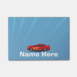 Bright Blue with Red Sports Car Flames Kids Boys Post-it Notes