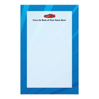Bright Blue with Red Sports Car Flames Kids Boys Stationery