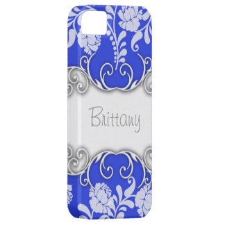 Bright Blue with White Roses Personalised iPhone 5 Cases