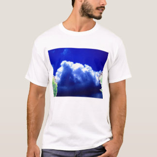 Bright Blue&Yellow Looming Storm and Glowing Trees T-Shirt
