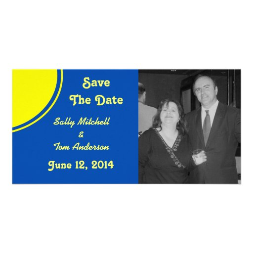 Bright Blue Yellow Modern Circle Wedding Photo Card Template
