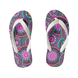 Bright Bohemian Boho Hippy Chic Pattern Kid's Flip Flops