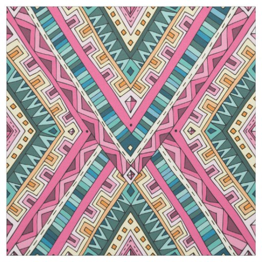 Bright Boho Colourful abstract tribal pattern Fabric