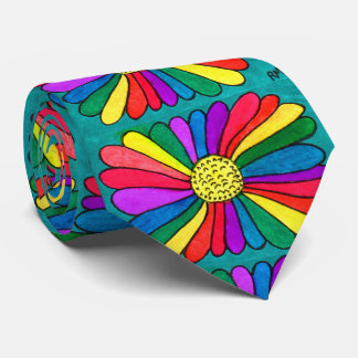 Bright Boho Hipster Watercolor Rainbow Flower Tie