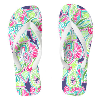 Bright Boho paisley pink blue green watercolor Flip Flops