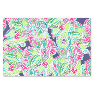Bright Boho paisley pink blue green watercolor Tissue Paper